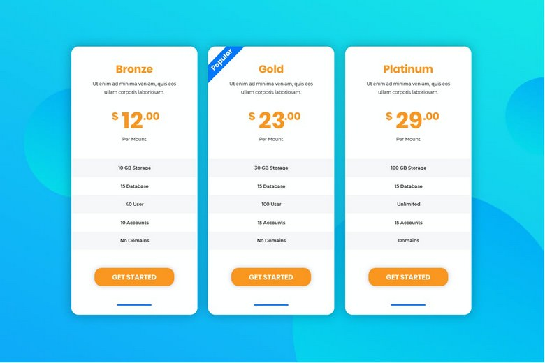 Business Pricing Table UI Template