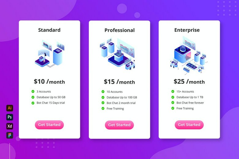 Cloud Database - Isometric Pricing Table