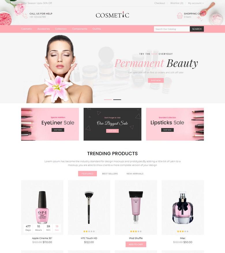 Cosmetics Store Responsive Opencart Theme