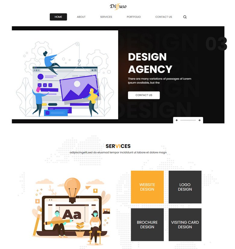 Diffuso - Free HTML5 Bootstrap Web Design Agency Website Template