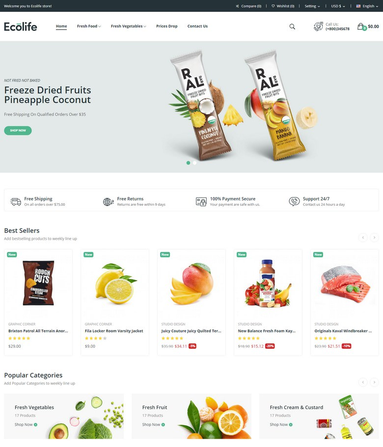 Ecolife - Organic, Food, Cosmetic & Multipurpose Prestashop Theme