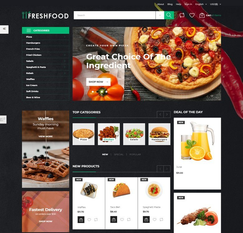 Freshfood - Food Store Template PrestaShop Theme