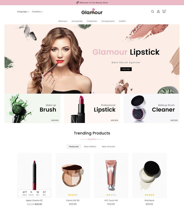 Glamour Cosmetics Store OpenCart Template