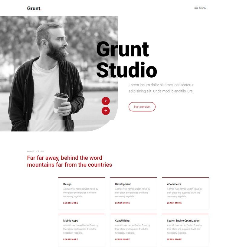 Grunt - Free Bootstrap 4 HTML5 Agency Website Template