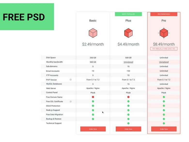 Host Pricing Table ( Free PSD )