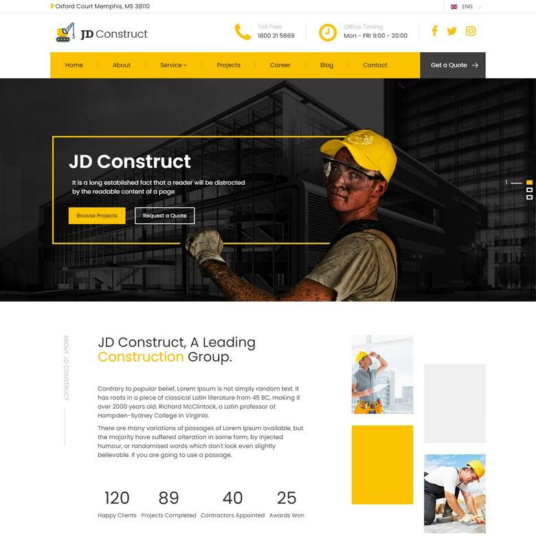 JD Construct - Industrial Joomla Template