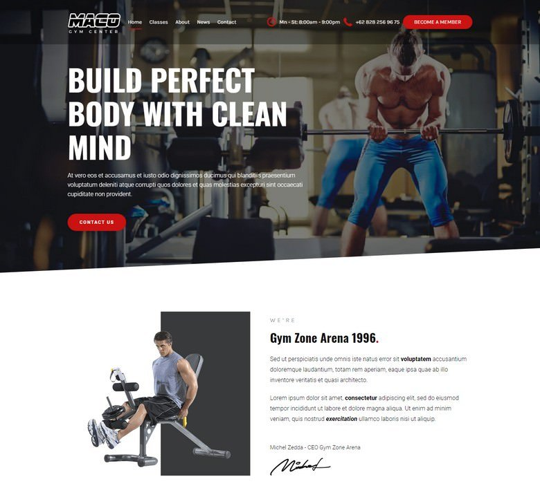 Maco Gym and Fitness WordPress Theme