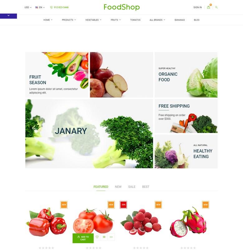 Organic Garden - Food Store Template