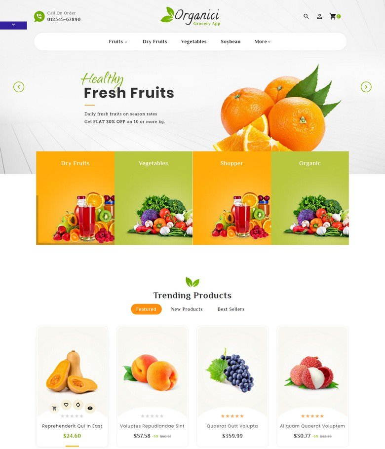 Organic Grocery Super Store Template