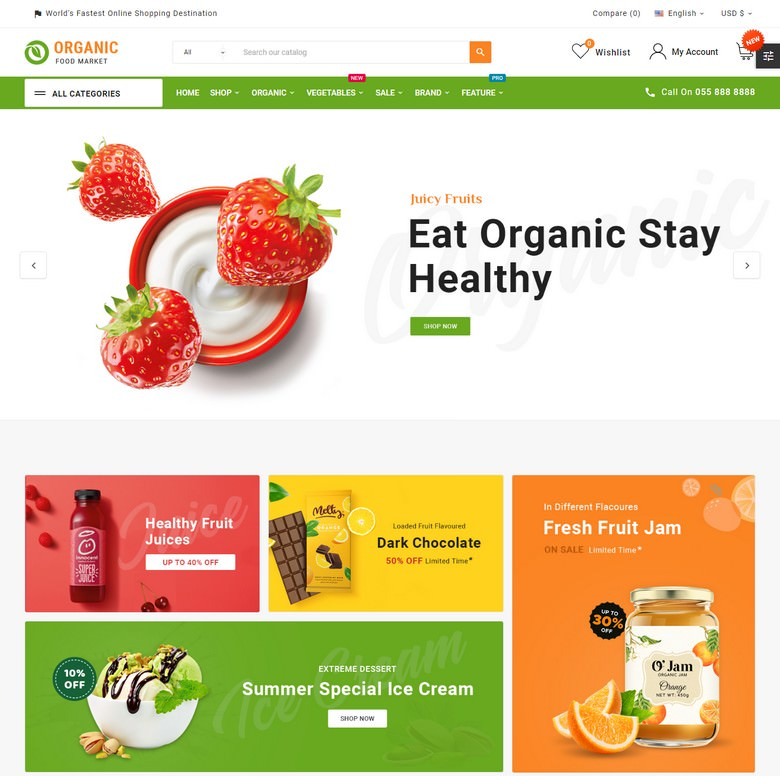 Organic Mega–Food and Fresh–Grocery Super Store Template