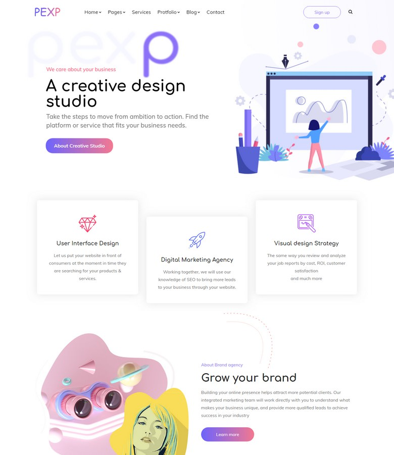 Pexp: Corporate Business Agency Bootstrap 4 Template