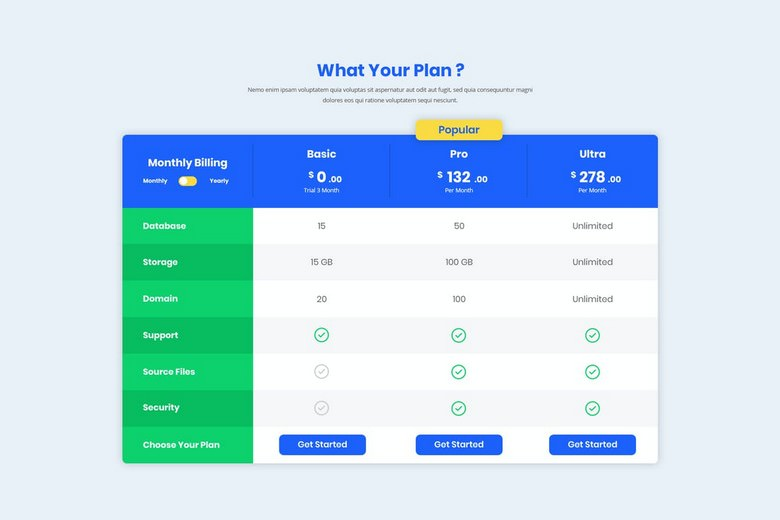 Pricing Table UI Template PSD
