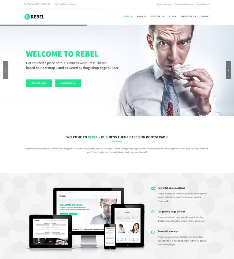 Rebel - WordPress Business Bootstrap Theme