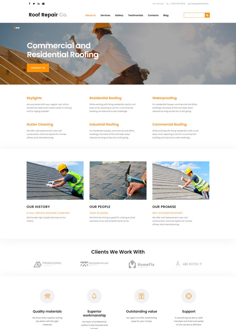 Roof Repair Services Joomla Template