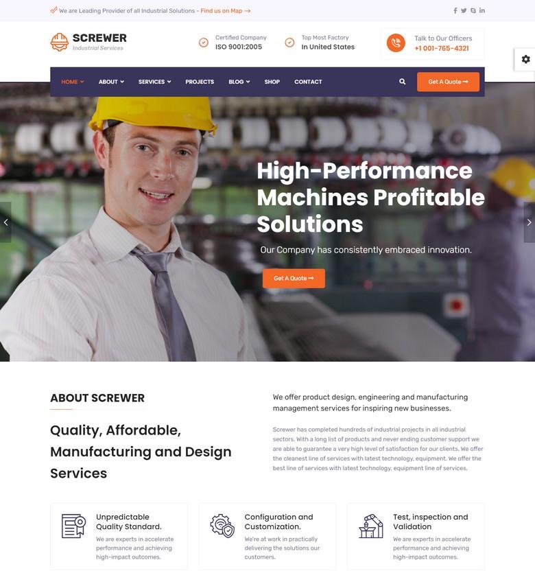 Screwer - Factory and Industrial Joomla Template