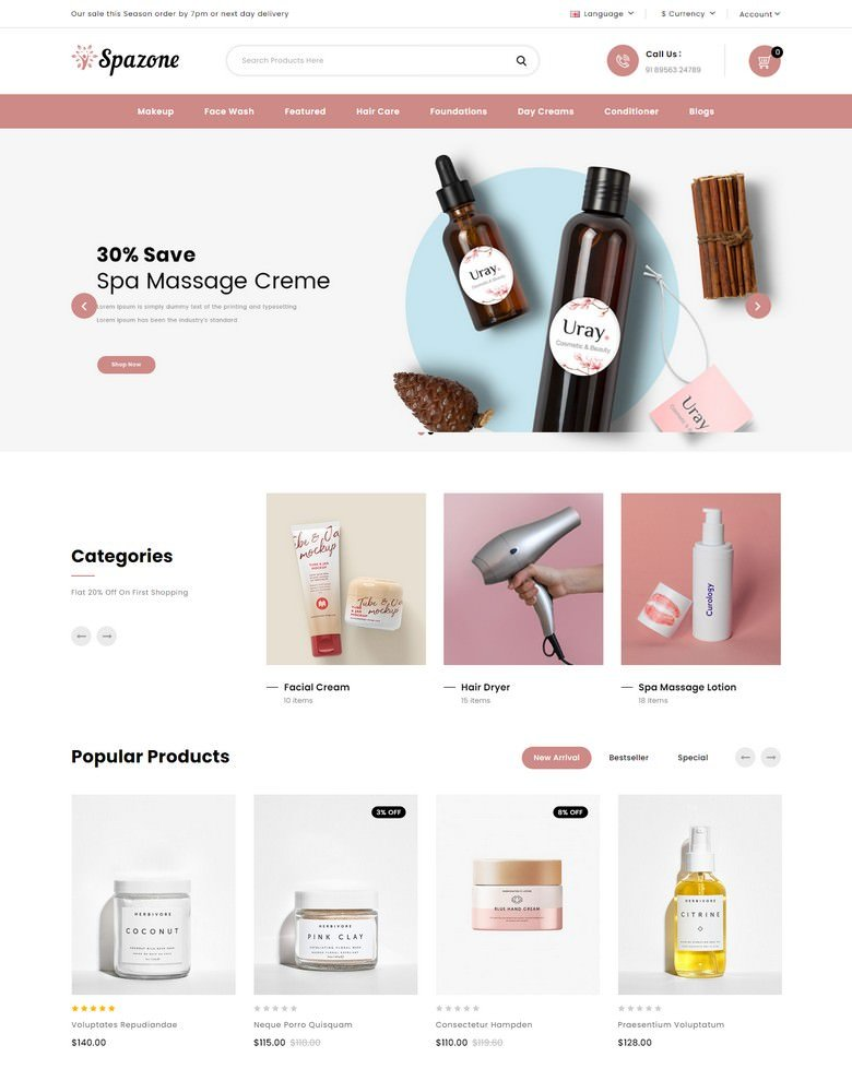 Spazone - Massage Parlour OpenCart Template