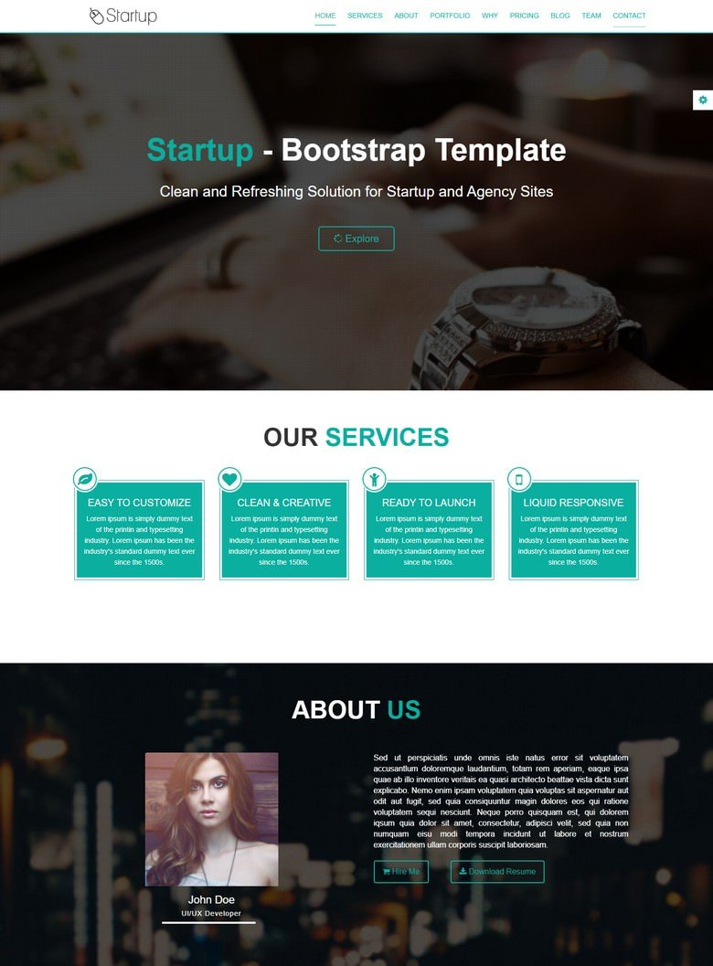 Startup – Free Onepage Business Template