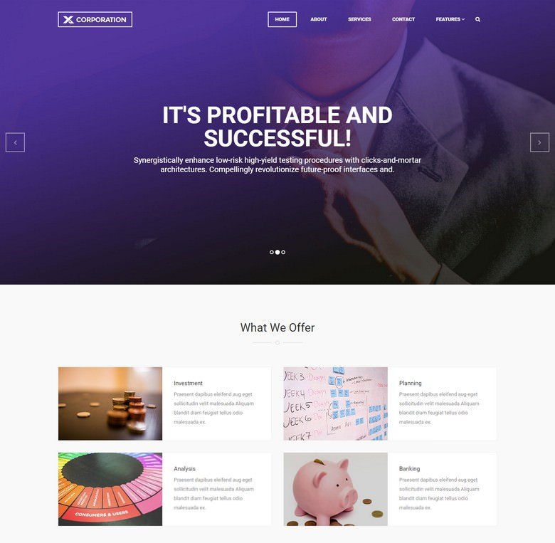 X-Corporation – Free Bootstrap HTML Template