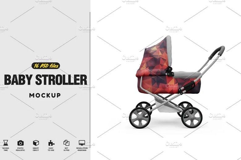 Set of Baby Stroller Mockup 16 PSD File