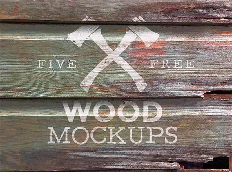 5 Free Weathered Wood Logo Mock Up