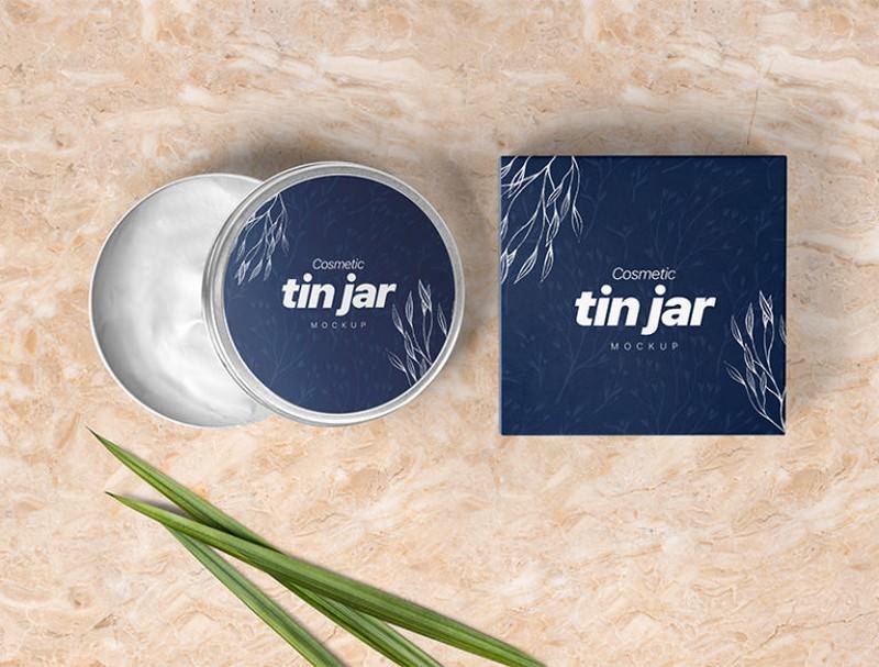 Free Cosmetic Tin Jar Mockup