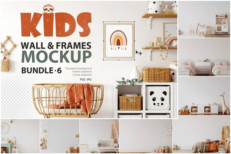 Kids Frames & Wall Mockup Bundle - 6