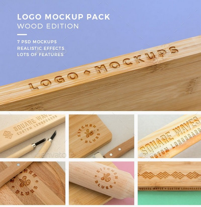 Logo Mockup Pack. Wood Edition