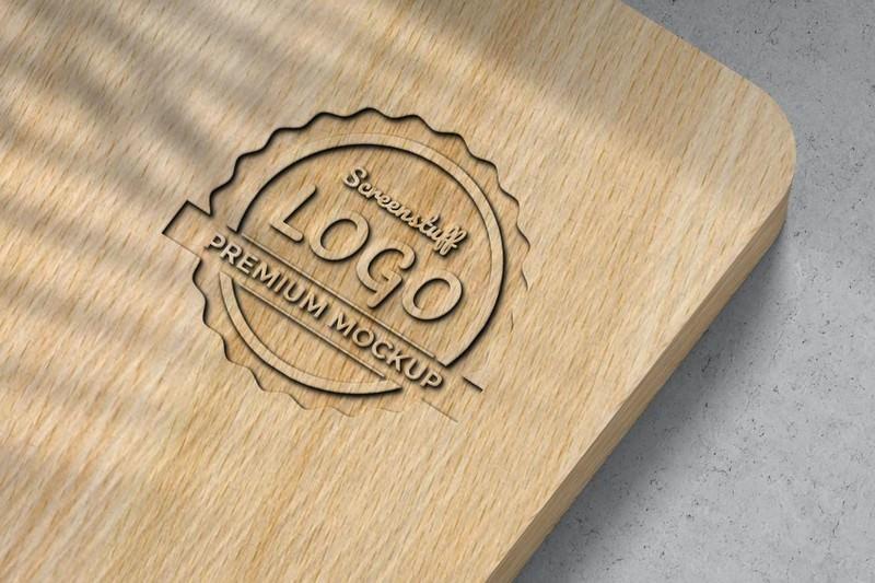Logo Mockup on wood
