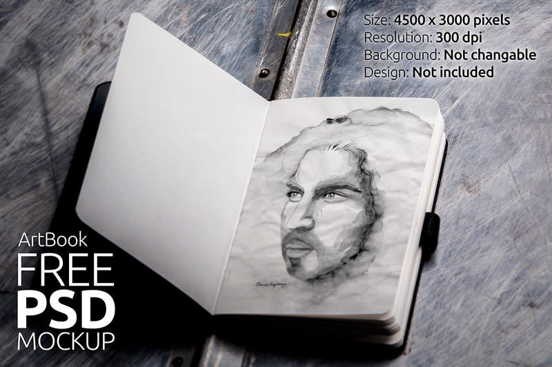 Mock Up Free Sketch Book Photorealistic 01