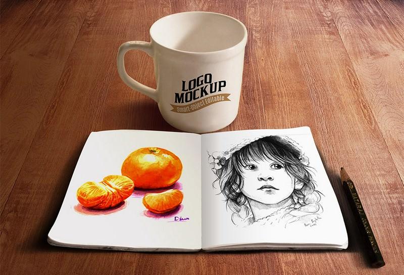 Sketchbook and Coffee Cup Mockup