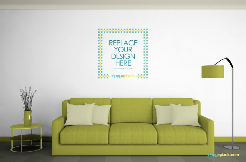 Wall Mockup in Gorgeous Living Room Environment