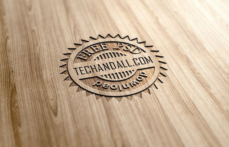 Wood Engraved Effect MockUp