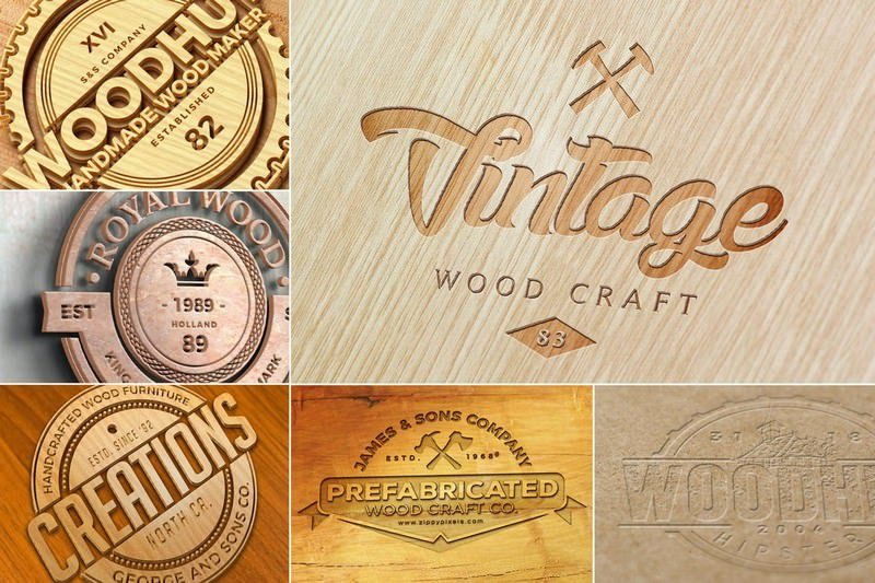 Vintage Wood Logo Mockup PSD