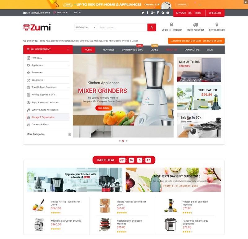 Zumi - Flexible and Modern Kitchen Appliance Magento 2 Theme