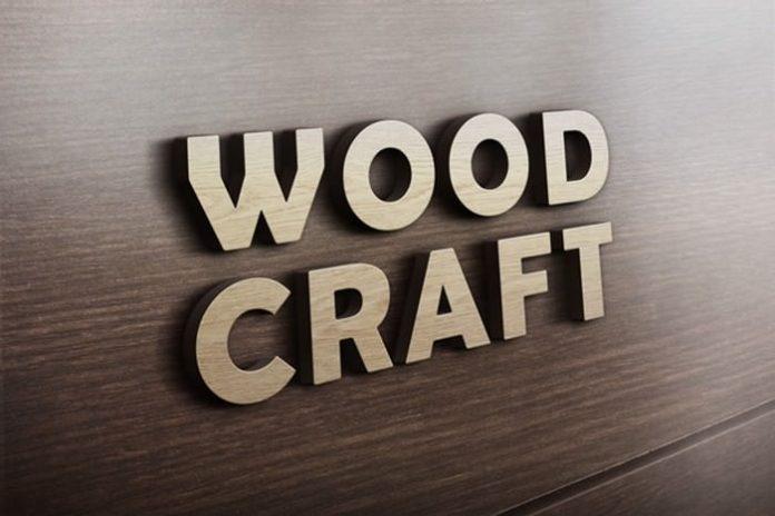 3D Woodcraft Logo Mockup PSD Template