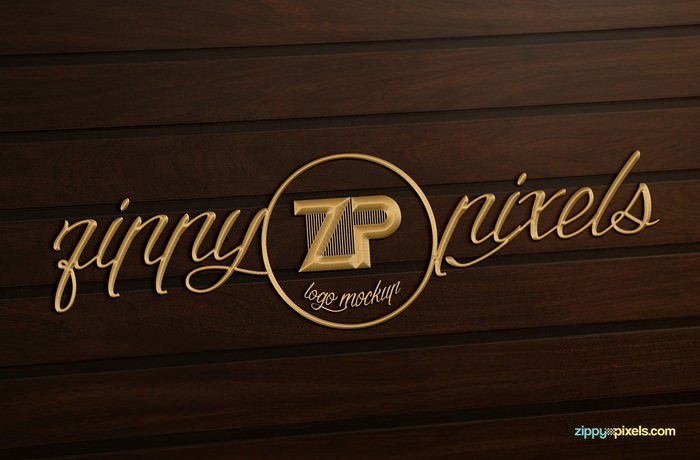 Gold finished 3D logo Mockup on wooden surface