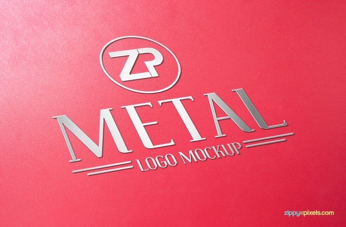 Metalized 3D logo Mockup on a matte textured surface
