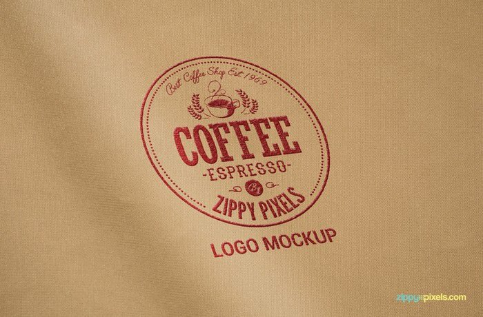 Coffee Shop Embroidered logo on fabric.
