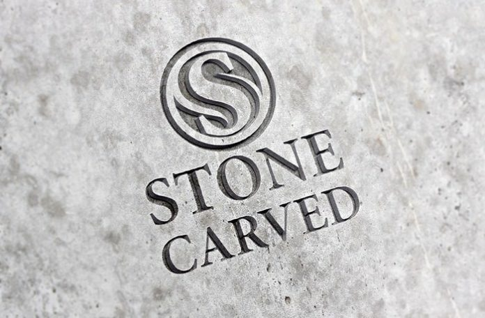 Realistic Logo Mockup With Carved Stone Effect