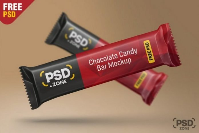 Floating Chocolate Candy Bar Packaging Mockup