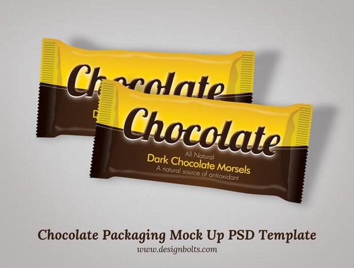 dark chocolate bar packaging PSD mockup