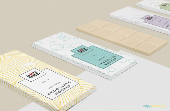 Cow Milk Chocolate Bar Packaging Mockup