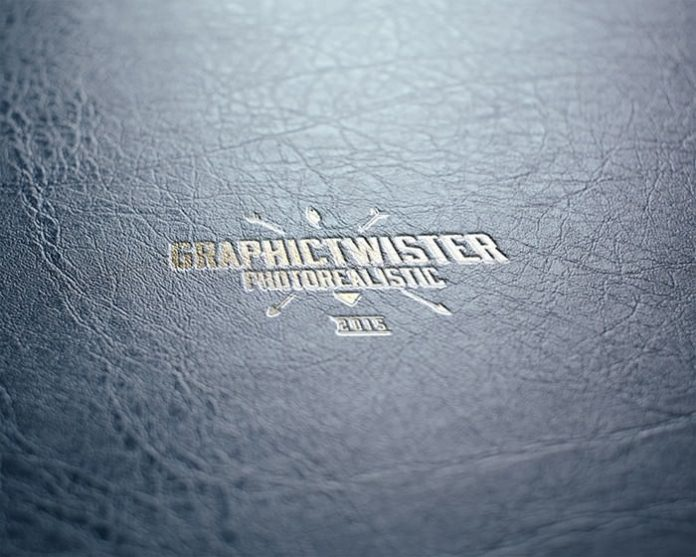 leather stamp logo mock-up PSD template