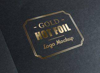 Gold Foil Stamp Logo Mockup (PSD)