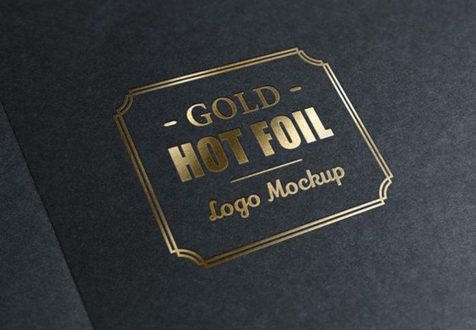 Hot Gold Foil Stamp Logo Mockup (PSD)