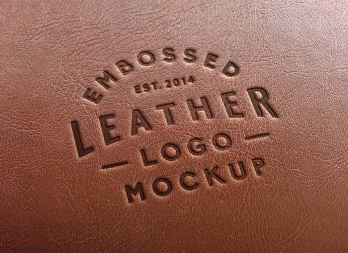 Awesome Leather Effect Logo Mockup (PSD)