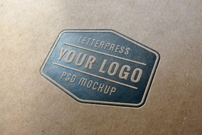 Realistic Letterpress Logo PSD Mockup 2300×1533 px