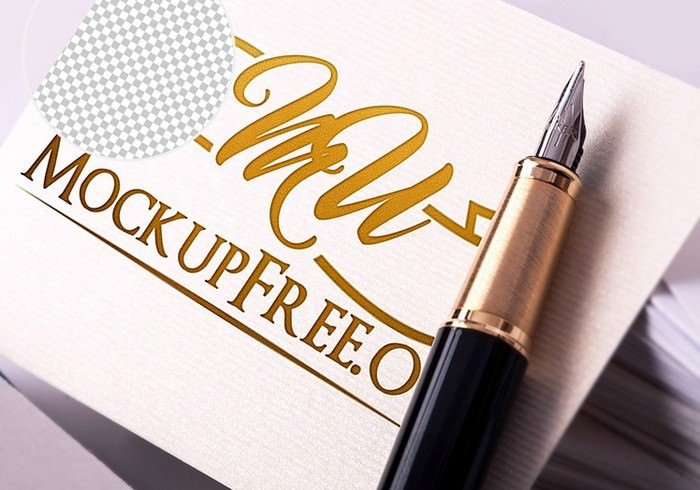 Realistic Logo Mock-Up With Pen PSD