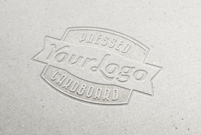 Letterpress Cardboard Logo PSD Mockup
