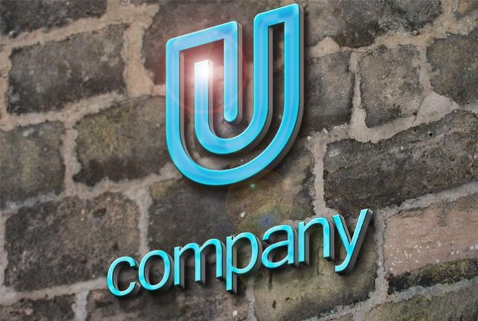 company 3D logo PSD mockup,